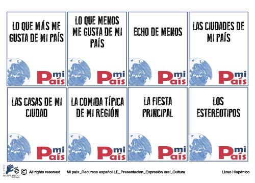 Recursos español LE | Presentación, cultura y expresión oral.